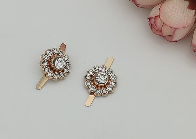 Round Zinc Alloy Buckle Fashion Style With Rhinestone Suitable For Women Shoes