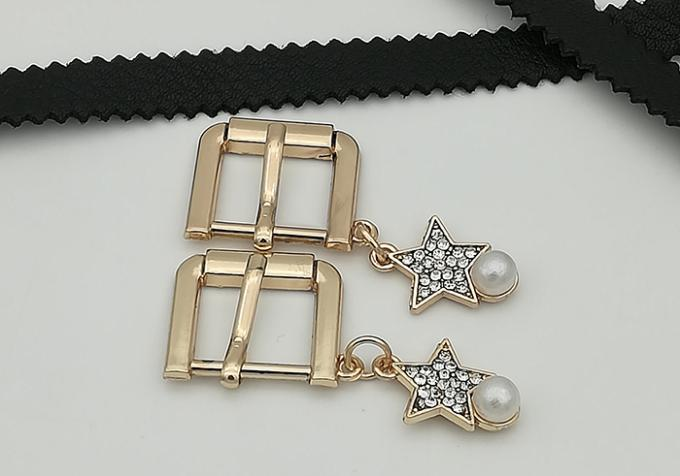 Rectangle / Oval Small Shoe Buckles , Zinc Alloy Gold Metal Buckle Fashionable