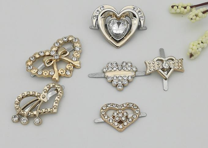 Heart Shaped Small Shoe Buckles , Plastic High Heel Shoes Buckles Accessory