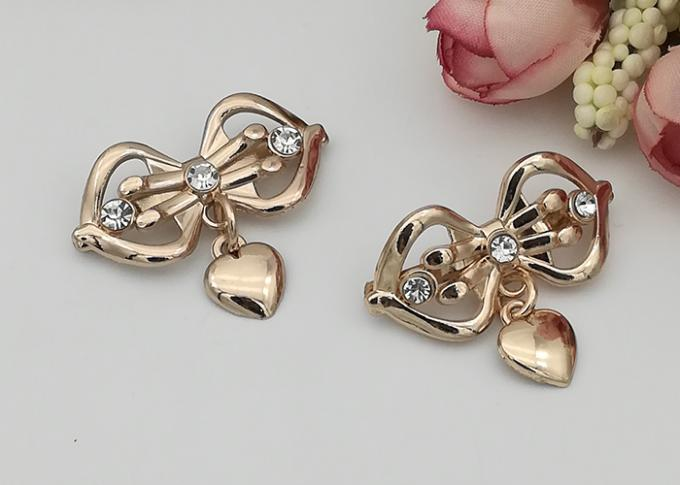 LHZ1004 Zinc Alloy And Rhinestone Shoe Accessories Buckle Replacement Bow Shape
