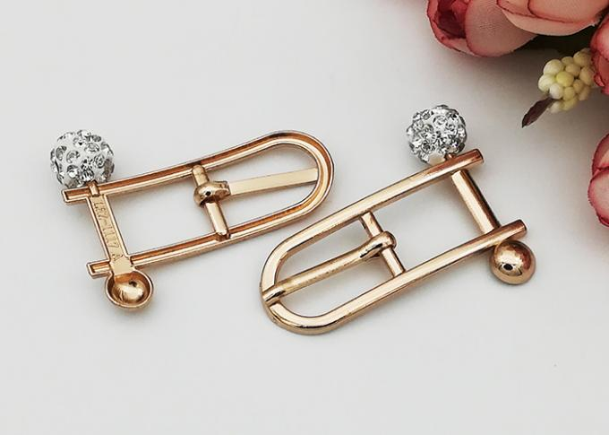 Beautiful Rectangle Small Shoe Buckles , Zinc Alloy Gold Metal Buckle Fashionable