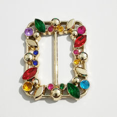 China Square Rhinestone Shoe Buckles , Acrylic Diamond Shoe Buckle Replacement Plastic supplier