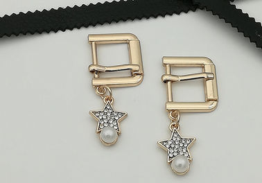 China Rectangle / Oval Small Shoe Buckles , Zinc Alloy Gold Metal Buckle Fashionable supplier