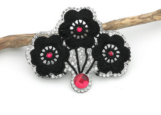 China Black Flower Embroidery Patches Wintersweet Shaped Customized Color / Size supplier
