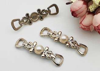 China Faux Pearl Silver Shoe Buckles And Clips Decorative Accessories Different Colors supplier
