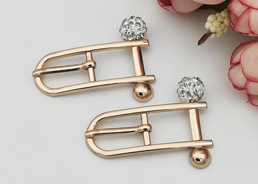 China Beautiful Rectangle Small Shoe Buckles , Zinc Alloy Gold Metal Buckle Fashionable supplier