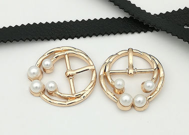 China Embellishment Metal Shoe Buckles With Pearl 30*19MM Suitable For Lady Shoes distributor