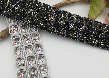 China Rhinestones Elastic Ribbon Trim , Black / Silver Gorgeous Elastic Stretch Ribbon factory