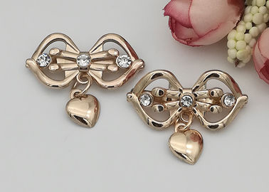 China LHZ1004 Zinc Alloy And Rhinestone Shoe Accessories Buckle Replacement Bow Shape distributor